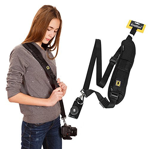 Adjustable Rapid Slr Dslr Camera Shoulder Neck Strap Belt Sling Black - HomeEkart