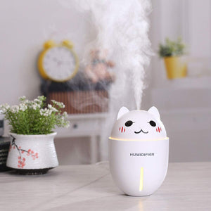Aroma Essential Oil Diffuser Wood Grain Ultrasonic Aromatherapy Humidifier 130ML White - HomeEkart