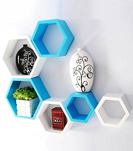 Hexagon Shape Wall Shelf Set of 6 - HomeEkart