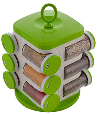 12-Jar Revolving Plastic Spice Masala Rack/Jars/Holder Green - HomeEkart