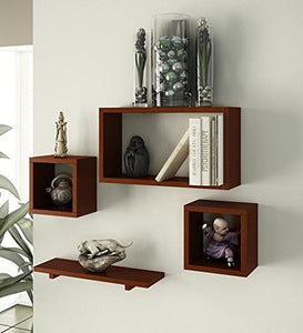 MDF Wall Shelf with 4 Shelves - Home Decoration and Living Room Furniture - HomeEkart
