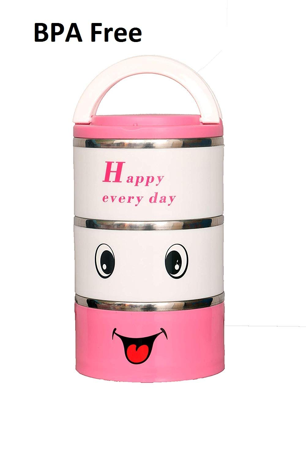3 Tyre Tiffin Lunch Box Stainless Steel & Thermo Heat Food Container Warmer Pink - HomeEkart