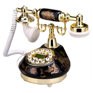 Old Fashion Antique Landline Telephone Decor 1960, Wired Home Office Telephone Decor System, Ceramic Antique Style (Black) - HomeEkart