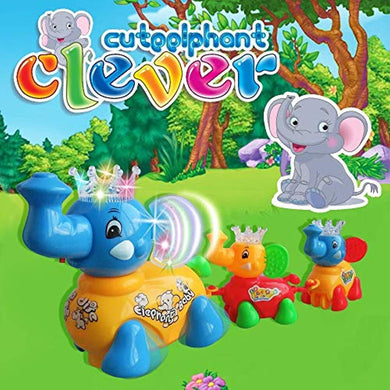 Pack of 5 - Musical Cute Elephant Clever with Flashing Lights Toy with Family for Kids (Multicolor)