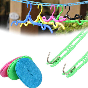 Clothes Washing Line Drying Nylon Rope with Hooks - HomeEkart