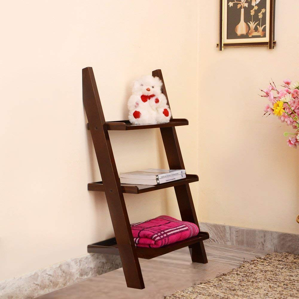 Home Décor Wooden Brown Ladder Shape 3 Tier Designer Book Shelf Wall Rack Shelf - HomeEkart