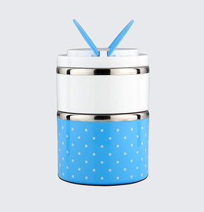 Lunch Box Food Thermal Stainless Steel Storage with 2 Containers 930 (Blue) - HomeEkart
