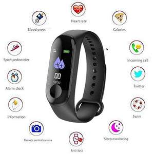 M3 Intelligence Bluetooth Health Wrist Smart Band Watch Monitor/Smart Bracelet/Health Bracelet/Activity Tracker/Smart Fitness Band Compatible for All Androids and iOS Phone/Tablet (Black) - HomeEkart