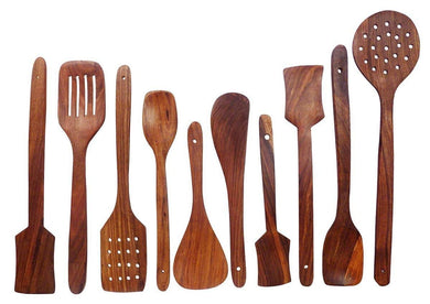 Handmade Wooden Non-Stick Serving and Cooking Spoon Kitchen Tools Utensil, Set of 10 - HomeEkart