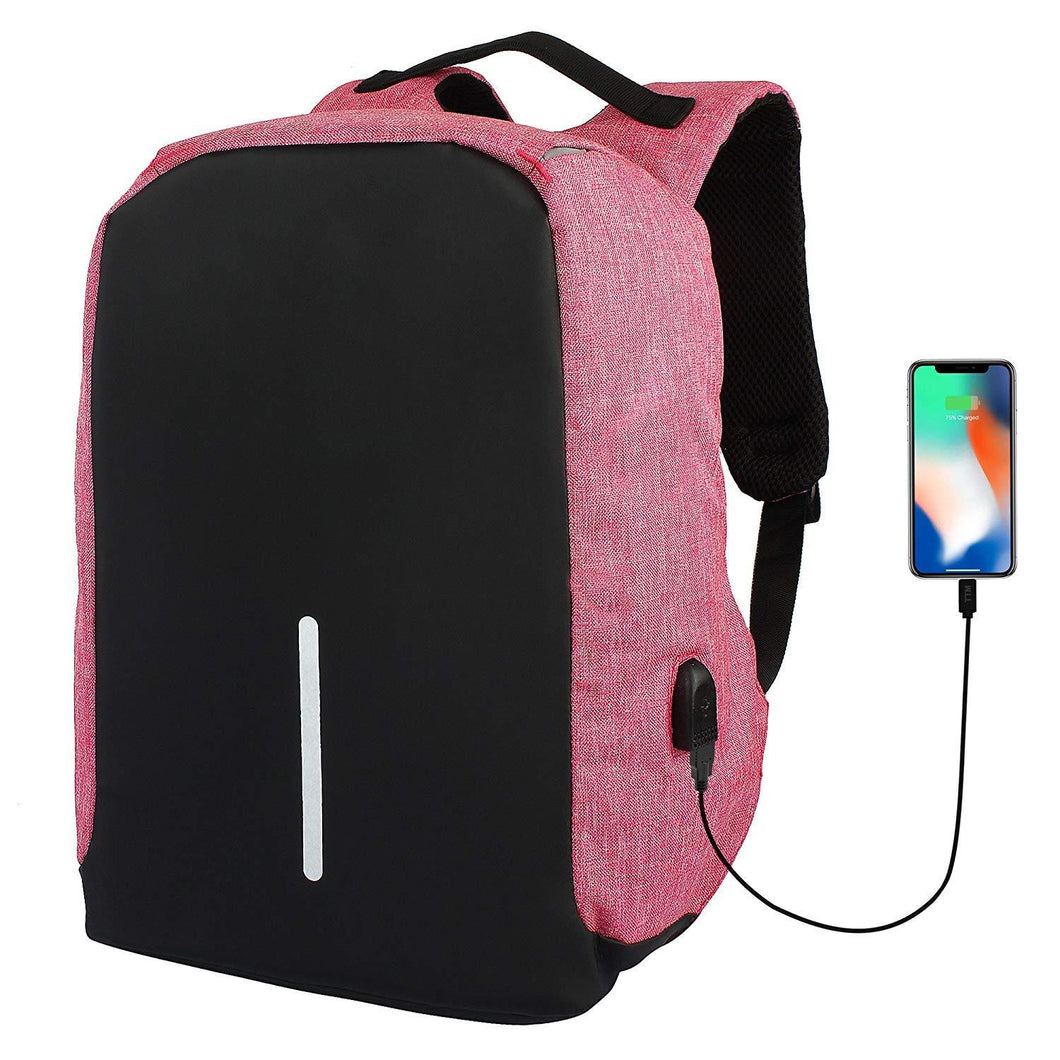 Pack Of 5 Black and Pink Anti Theft Laptop Backpack Bag for Men with USB Charging Port - HomeEkart