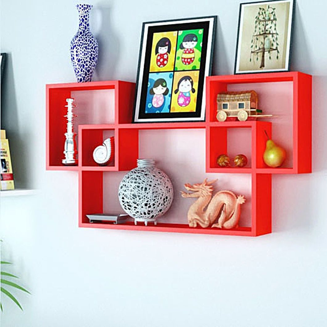 intersecting Wall Shelves/Wall Shelf/MDF Shelves for Home and Living Room(Red) - HomeEkart