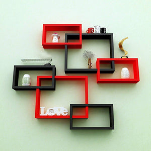 Wall Decoration Intersecting Floating Shelves (Black and Red) -Set of 6