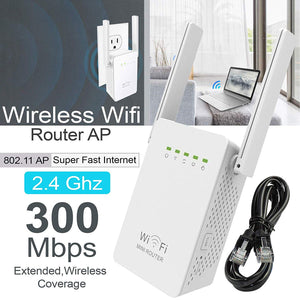 Wireless 300Mbps 802.11 AP WiFi Range Repeater Router Booster 2 Antennas