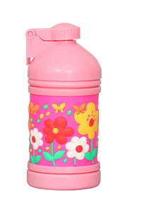 Plastic Push Button Sipper Bottle, 250 ml, Multicolour Flower - HomeEkart