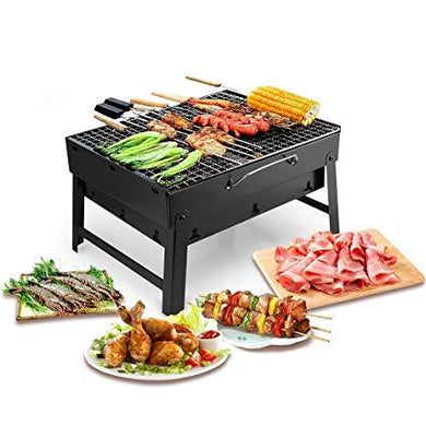 Folding Portable Outdoor Barbeque Charcoal Bbq Grill Oven Black Carbon Steel - HomeEkart