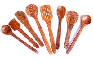 Handmade Wooden Non-Stick Serving and Cooking Spoon Kitchen Tools Utensil, Set of 8 - HomeEkart