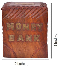 Beautiful Carved Wooden Money Bank(4 Inches) - HomeEkart