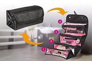 Roll n Go PVC Cloth Designer Foldable Fashion Cosmetic Traveling Bag Case Cosmetic and Toiletries (Transparent, Black) - HomeEkart