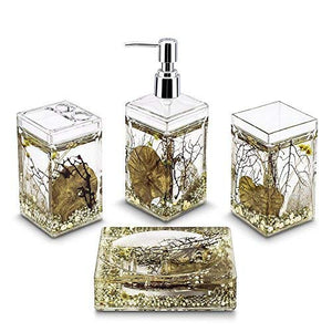 Bathroom Set Dispenser Soap 4 Piece Brush Toothbrush Holder Accessories Vintage Floral (Silver) - HomeEkart