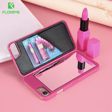 FLOVEME Flip Makeup Mirror Phone Cases for iPhone 6 6s 7 Plus Case For iPhone X 8 8 Plus Women Girl Water Pattern Phone Cover - HomeEkart