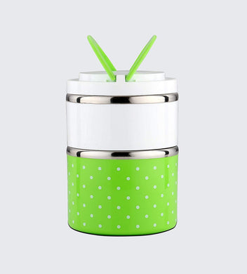 Lunch Box Food Thermal Stainless Steel Storage with 2 Containers 930 ML (Green) - HomeEkart