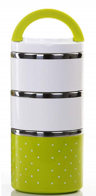 Lunch Box Food Thermal Stainless Steel Storage with 3 Containers 2000 ML (Green) - HomeEkart