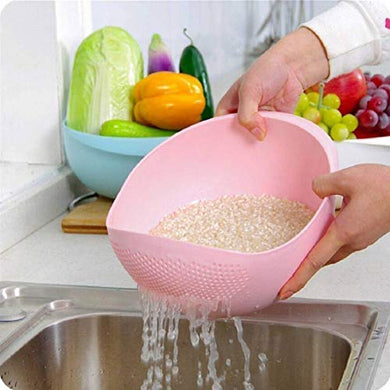 PACK OF 20 Plastic Rice Bowl Strainer, Washing Bowl for Fruits, Vegetables, Noodles, Pulses, Cereal, Rice (Color May Vary) - HomeEkart
