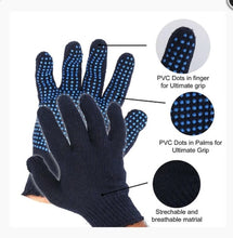 Cotton Polyester Mens Work Gloves Wtih PVC-Dotted String Knit BLUE GLOVES COTTON - HomeEkart