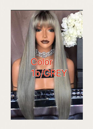 Dyed Straight 360 (Full Lace) wig with baby hairs and pre-plucked in colors 1, 1b/27, 613, 1b/30, Grey - mslhair