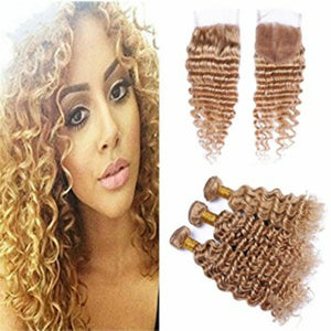 Deep Wave Lace Free part closures in colors 1, 1b/27, 1b/4/30, and 27, Brazilian, Indian,and Mongolian, Cambodian hair pre-plucked with baby hairs. - mslhair