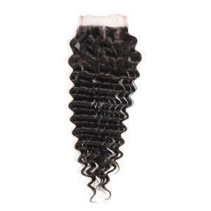 4 By 4 Deep wave Lace Three Part, Middle Part, and Free Part closure, pre-plucked, with baby hairs. Brazilian, European, Indian, Malaysian, Peruvian - mslhair