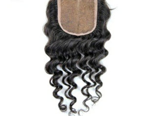 4 By 4 Silk Base Jerry curly Three Part, Middle Part, and Free Part closure, pre-plucked, with baby hairs - mslhair