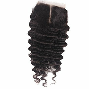 4 By 4 Silk Base Deep wave Three Part, Middle Part, and Free Part closure, pre-plucked, with baby hairs - mslhair
