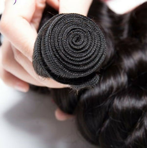 Indian Silky Loose wave hair in color 1b, grade 10a - mslhair