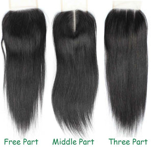 4 by 4 Straight lace Three Part, Middle Part, and Free Part closure with baby hairs, and pre-plucked. - mslhair