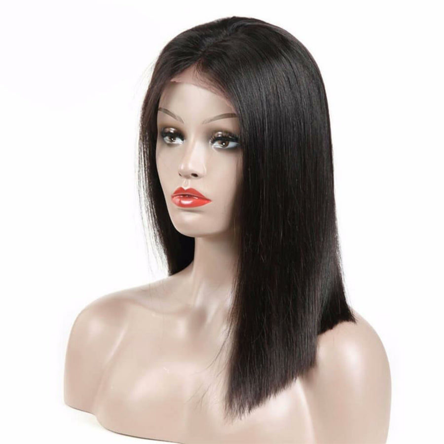 Bob Straight lace front wig pre-plucked with baby hairs made with grade 10a hair in natural color 1b - mslhair