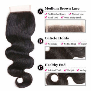 4 By 4 Bodywave Lace Three Part, Middle Part, and Free Part closure, pre-plucked, with baby hairs. Brazilian, European, Indian, Malaysian, Peruvian - mslhair