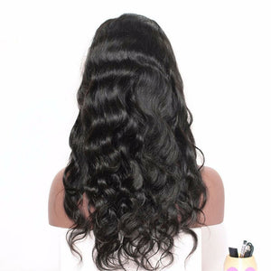 Body Wave Lace Front wig pre-plucked with baby hairs made with grade 9a hair in natural color 1b. - mslhair