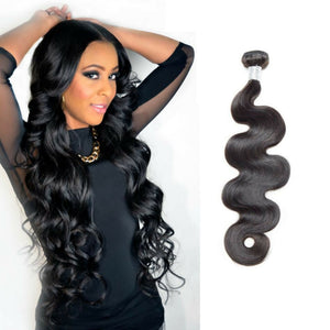 Brazilian Silky Body wave hair in color 1b, grade 10a - mslhair
