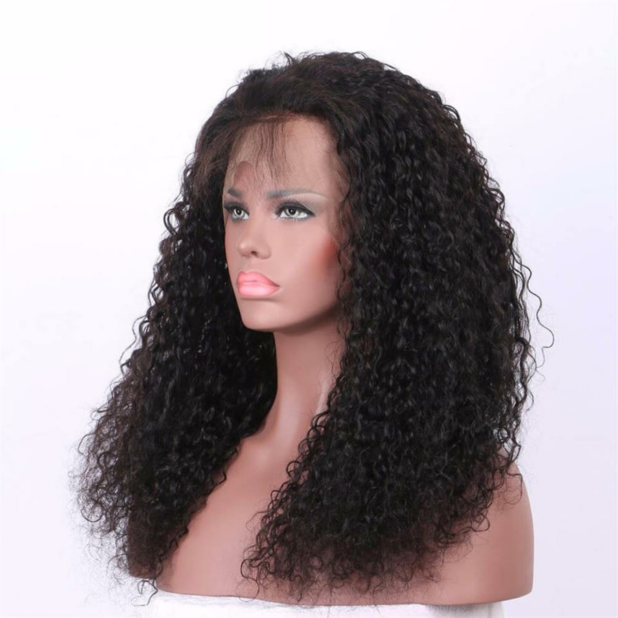 Curly 360 (Full Lace ) wig plucked with baby hairs made with grade 9a hair in natural color 1b. - mslhair