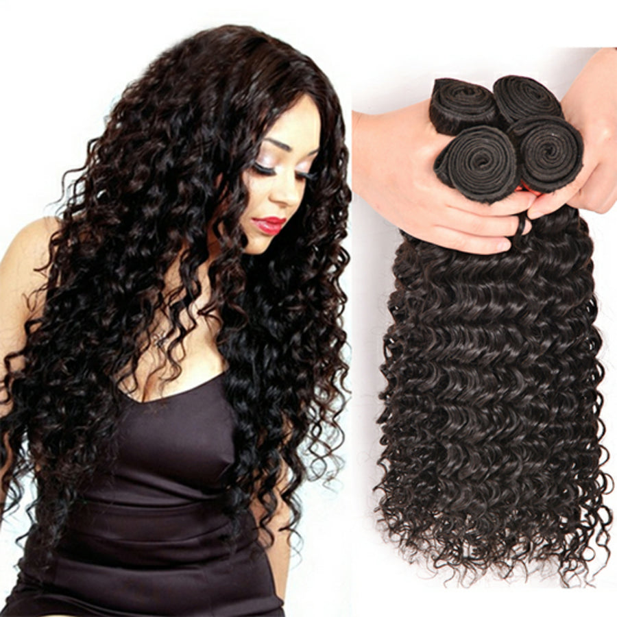 Four bundles of silky Deep wave hair and a 4 by 4 Free Part closure, pre-plucked with baby hair, grade 10a - mslhair