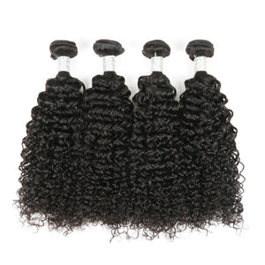 Four bundles of Silky jerry Curly hair and a 4 by 4 Free Part closure, pre-plucked with baby hair, grade 10a - mslhair