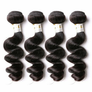 Four bundles of silky Loose wave hair and a 4 by 4 Three Part closure, pre-plucked with baby hair, grade 10a - mslhair