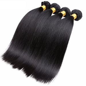 Four bundles of silky Straight hair and a 4 by 4 Three Part closure, pre-plucked with baby hair, grade 10a - mslhair