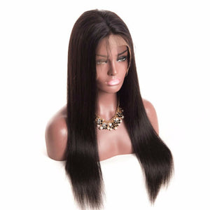 Straight 360 (Full Lace ) wig plucked with baby hairs made with grade 9a hair in natural color 1b. - mslhair