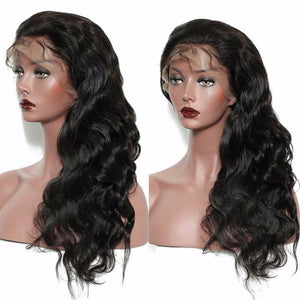 Body Wave 360 (Full Lace ) wig pre-plucked with baby hairs made with grade 9a hair in natural color 1b. - mslhair