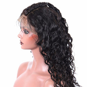 Deep Wave 360 (Full Lace ) wig plucked with baby hairs made with grade 9a hair in natural color 1b. - mslhair