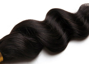 Peruvian Silky Loose wave hair in color 1b, grade 10a - mslhair