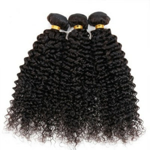 Silky jerry Curly Virgin hair in color 1b, grade 9a - mslhair