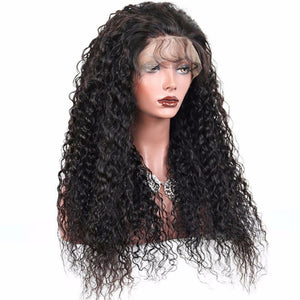 Curly Lace Front wig pre-plucked with baby hairs made with grade 9a hair in natural color 1b. - mslhair